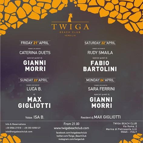twiga beach club venerdi sabato domenica lunedi