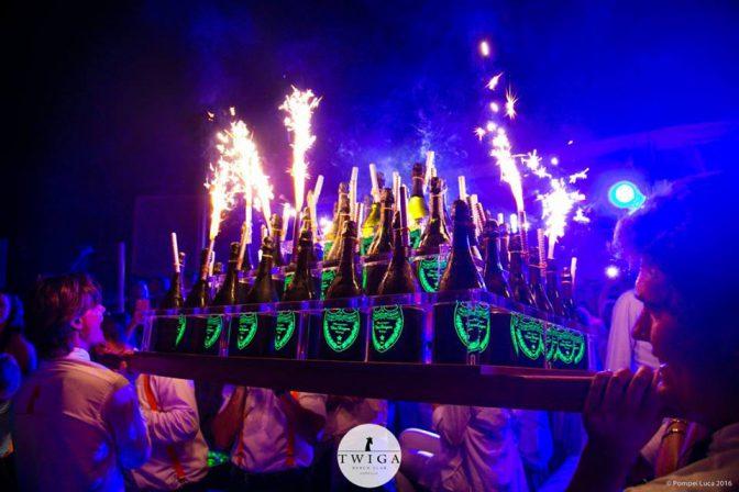 discoteca twiga bottiglie al tavolo