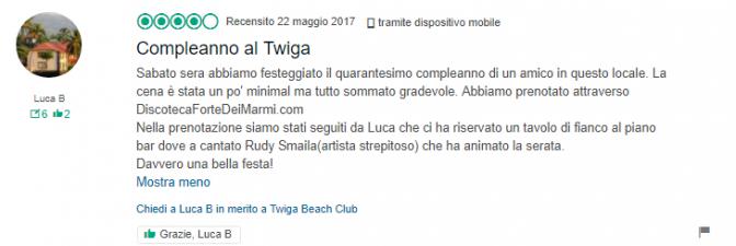 recensione compleanno twiga beach