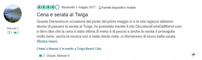 recensione ristorante twiga