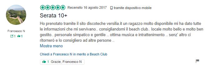 recensione serata beach club