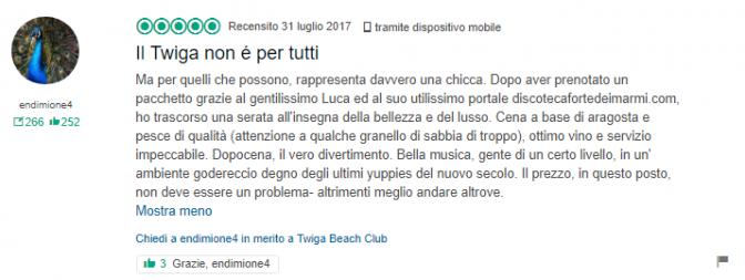 recensioni discoteca twiga